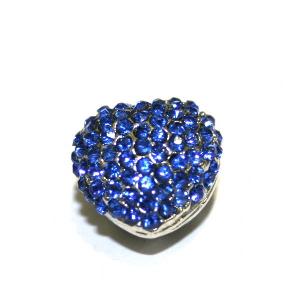Rhodium plated heart beads - suitable for pave crystal bracelets - set with sapphire blue rhinestones